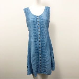 90s Vintage Chambray Embroidered Dress - Size M